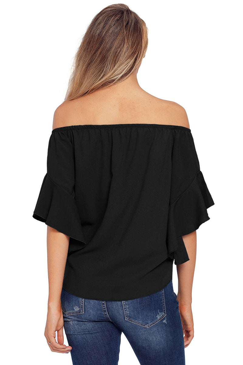 Black Off The Shoulder Knot Front Top - GHA Discount
