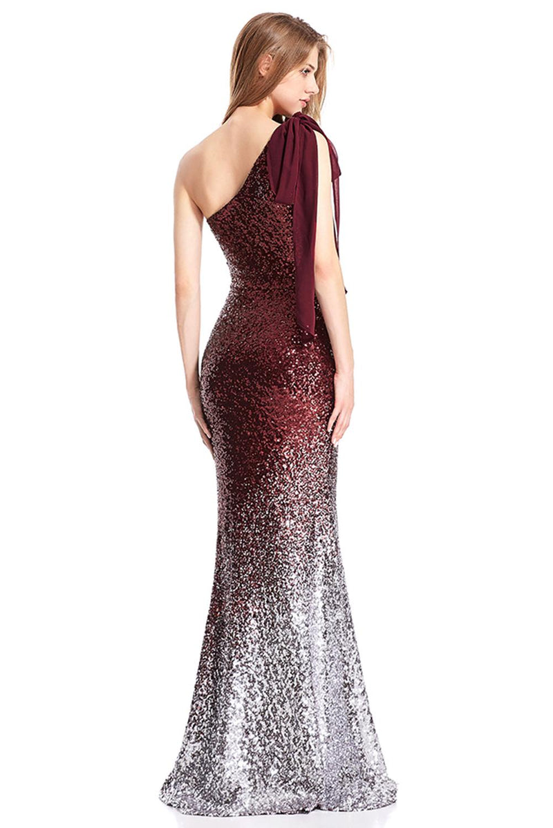 Red Gradient One Shoulder Sequin Party Evening Dress - GHA Discount