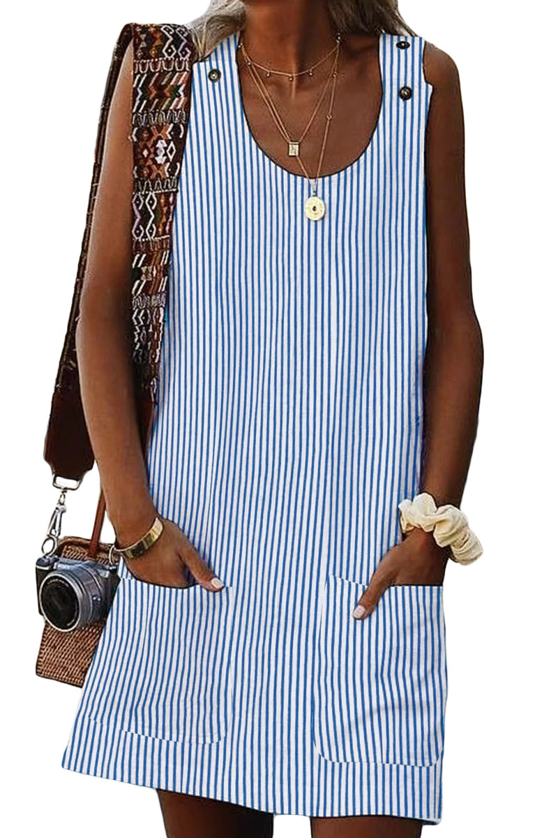 Sky Blue Boho Crew Neck Pockets Daily Striped Shift Dress - GHA Discount