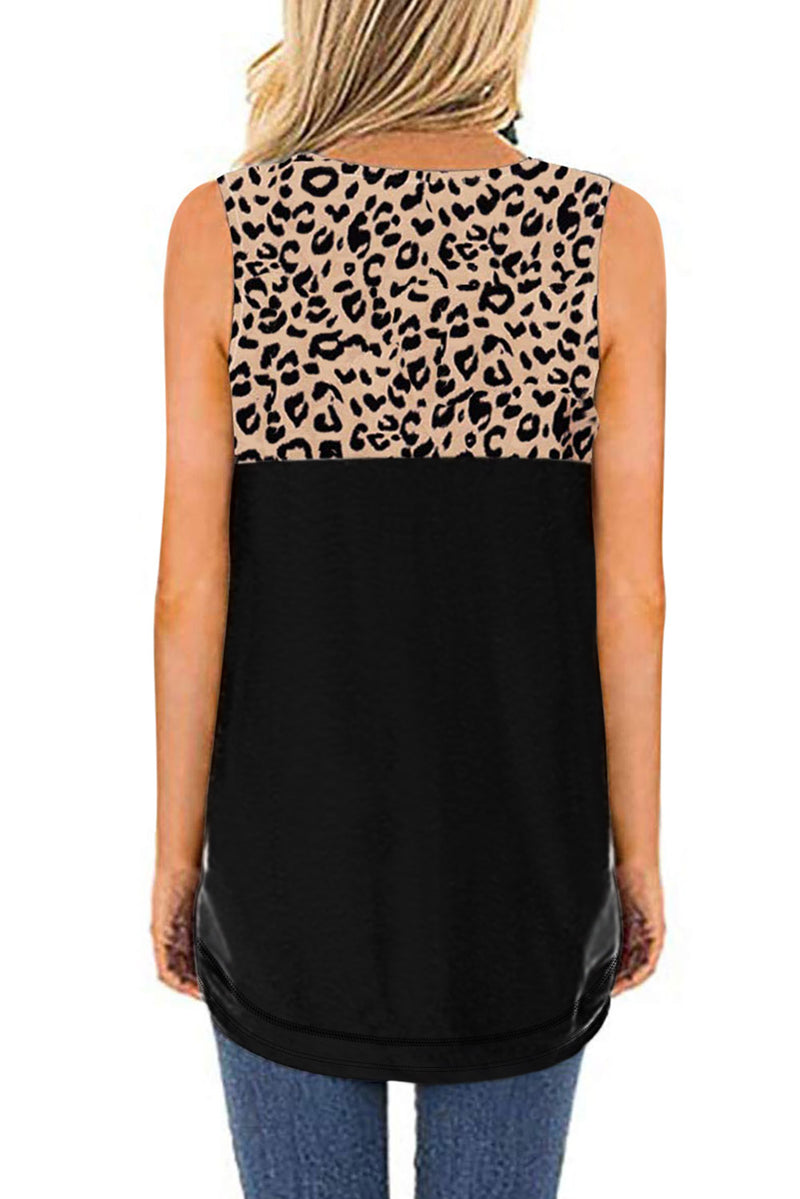 Hollow-out Leopard Solid Black Patchwork Tank Top - GHA Discount