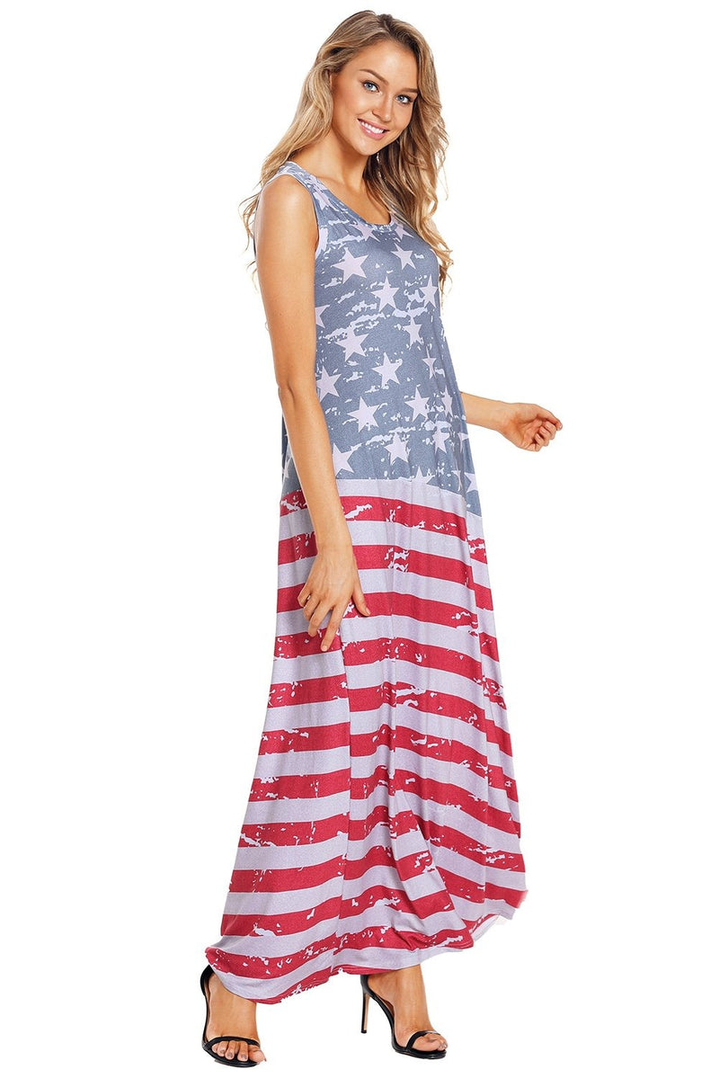 American Flag Print Sleeveless Maxi Dress - GHA Discount
