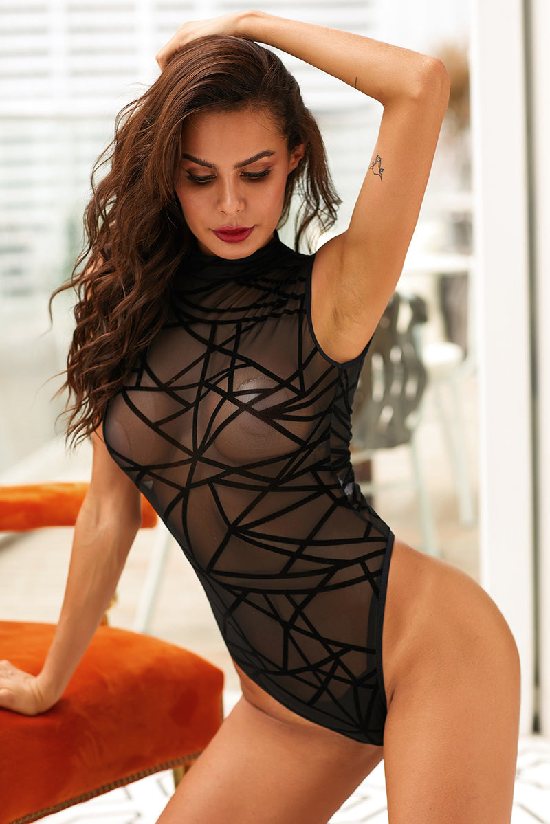 Sexy Sheer Mesh Sleeveless Geometric Velvet Bodysuit - GHA Discount