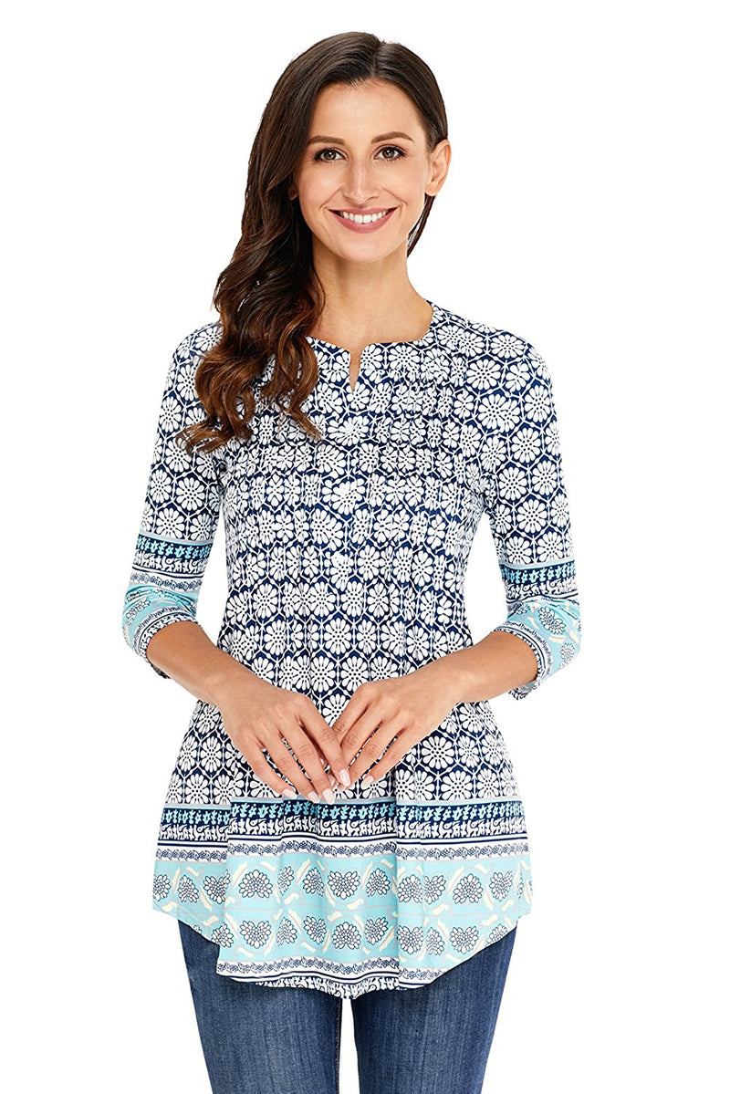 White Floral Notch Neck Pin-tuck Tunic - GHA Discount