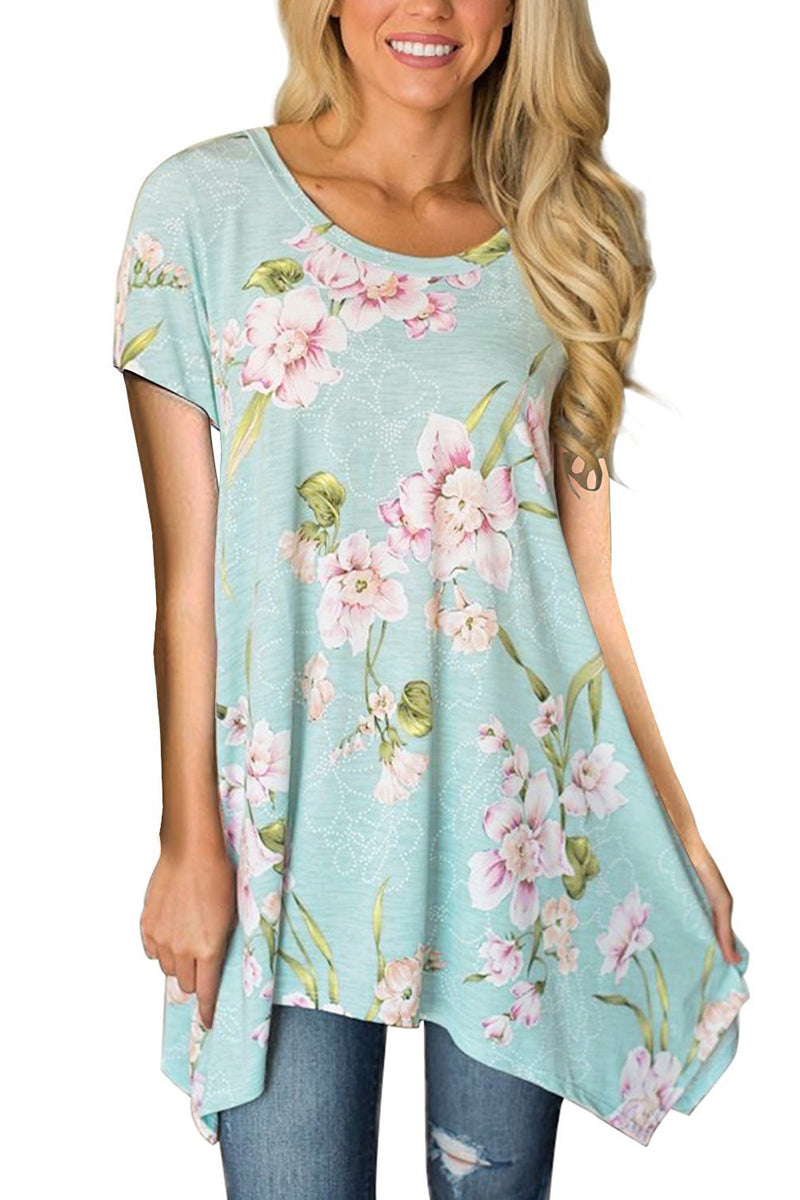 Light Blue Floral Irregular Hem Short Sleeve Blouse - GHA Discount