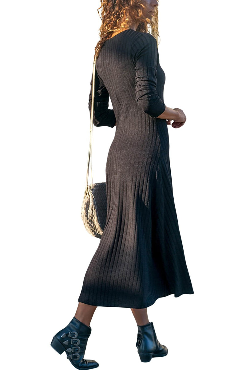 Black Button Front Long Sleeve Ribbed Maxi Dress - GHA Discount