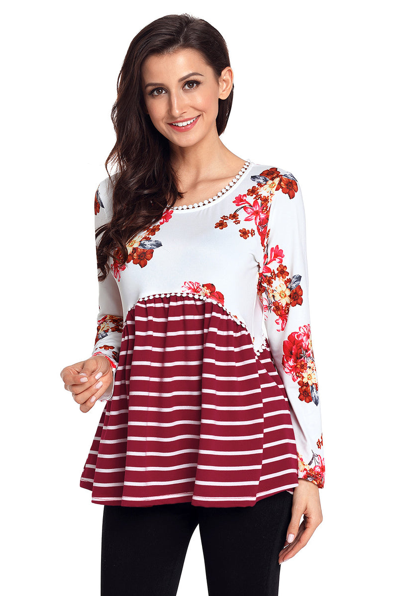 Wine Floral Striped Babydoll Tunic - GHA Discount