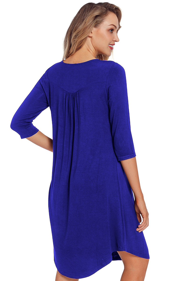 Royal Blue Quarter Sleeve Casual Tunic Dress - GHA Discount