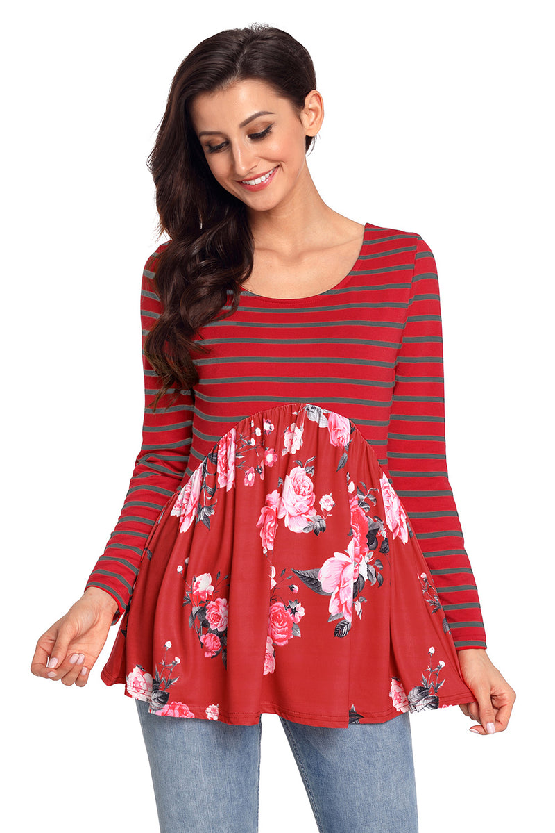 Purplish Red Floral Striped Babydoll Tunic - GHA Discount