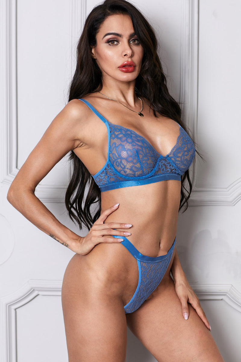 Sky Blue Romantic Night Lace Bralette Lingerie Set - GHA Discount