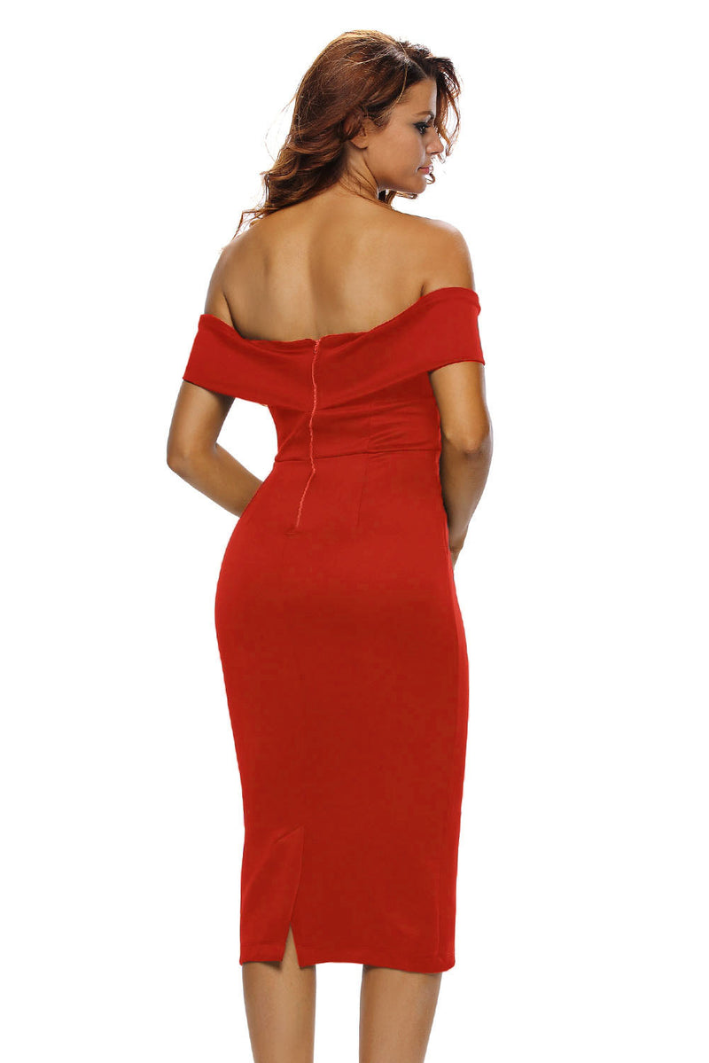 Red Off-the-shoulder Midi Dress - GHA Discount