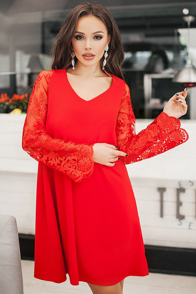 Red Sheer Floral Sleeve Swing Dress - GHA Discount