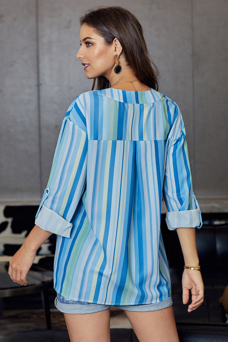 Blue Stripes Printed Dyed Loose Blouse - GHA Discount