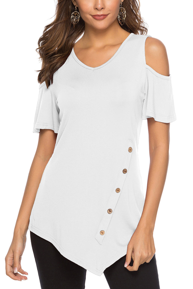 White Irregular Round Neck Cold Shoulder Blouse - GHA Discount