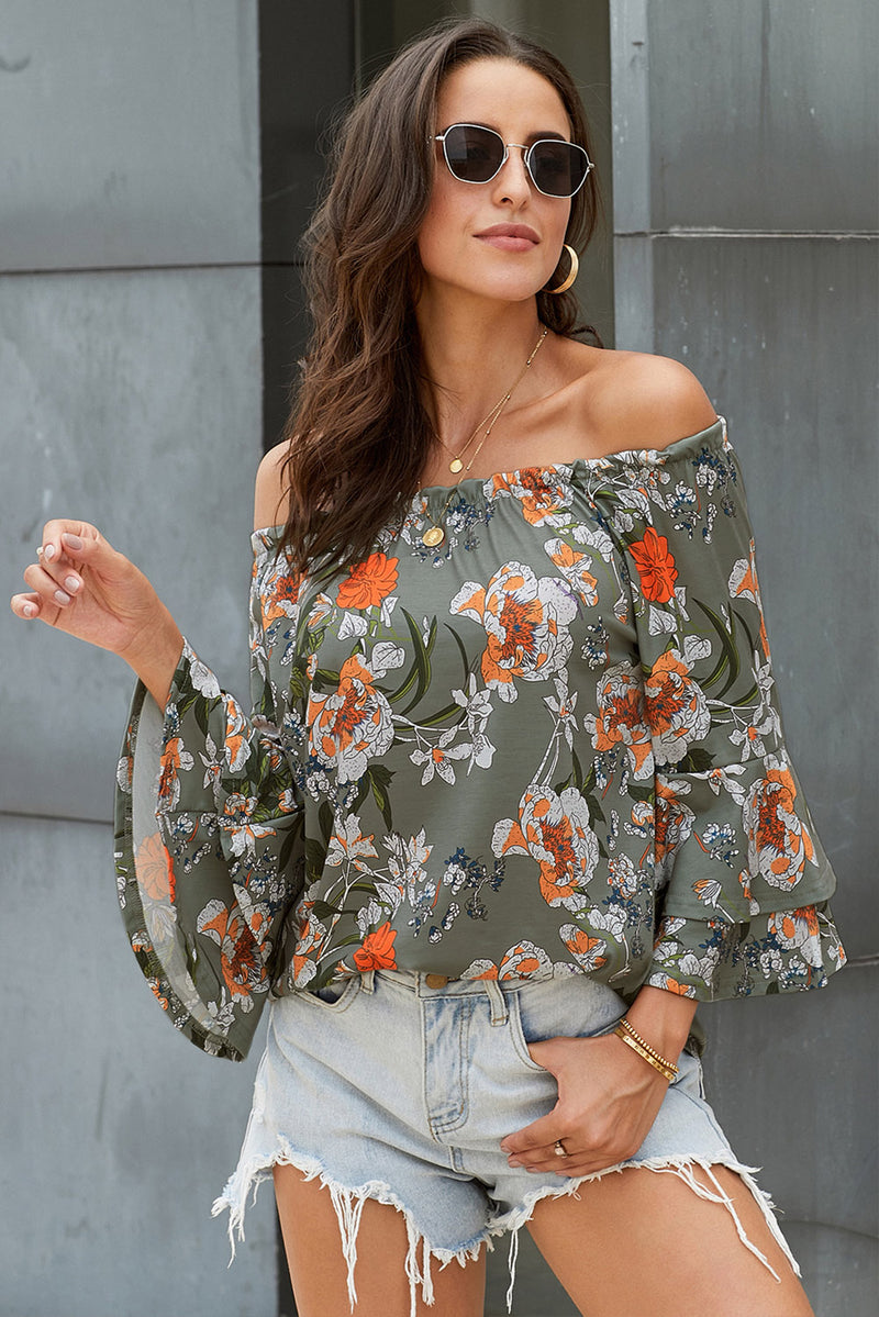 Elasticised Neck Floral Print Blouse - GHA Discount