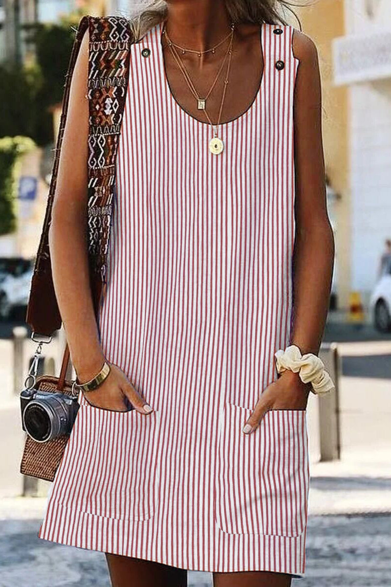 Pink Boho Crew Neck Pockets Daily Striped Shift Dress - GHA Discount