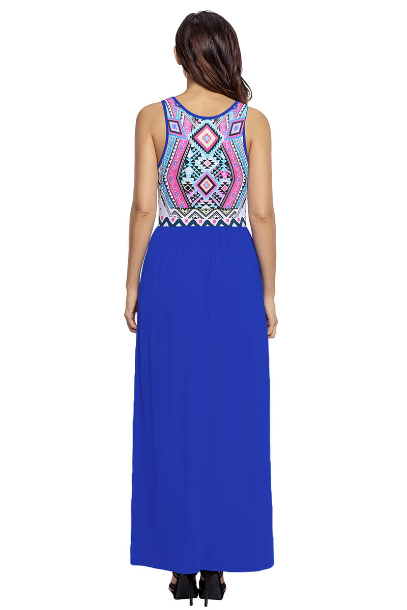 Stylish Aztec Print Sleeveless Royal Blue Maxi Dress - GHA Discount