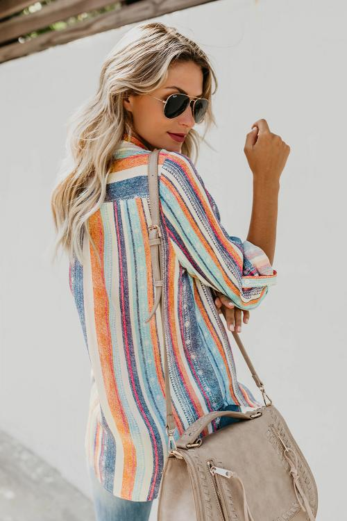 Striped Button Down Top - GHA Discount