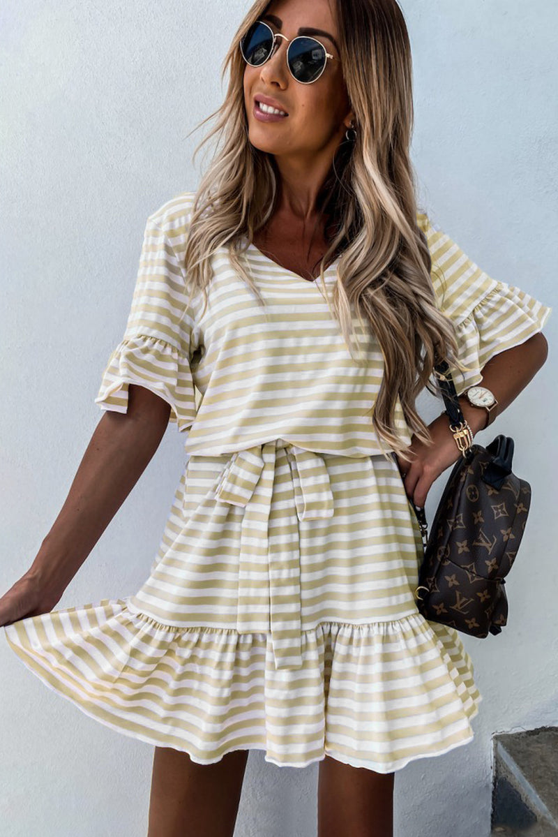 Stripes Ruffle Short Dress - GHA Discount