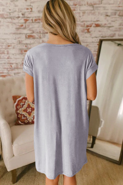 Gray V Neck Cuffed T-shirt Dress - GHA Discount