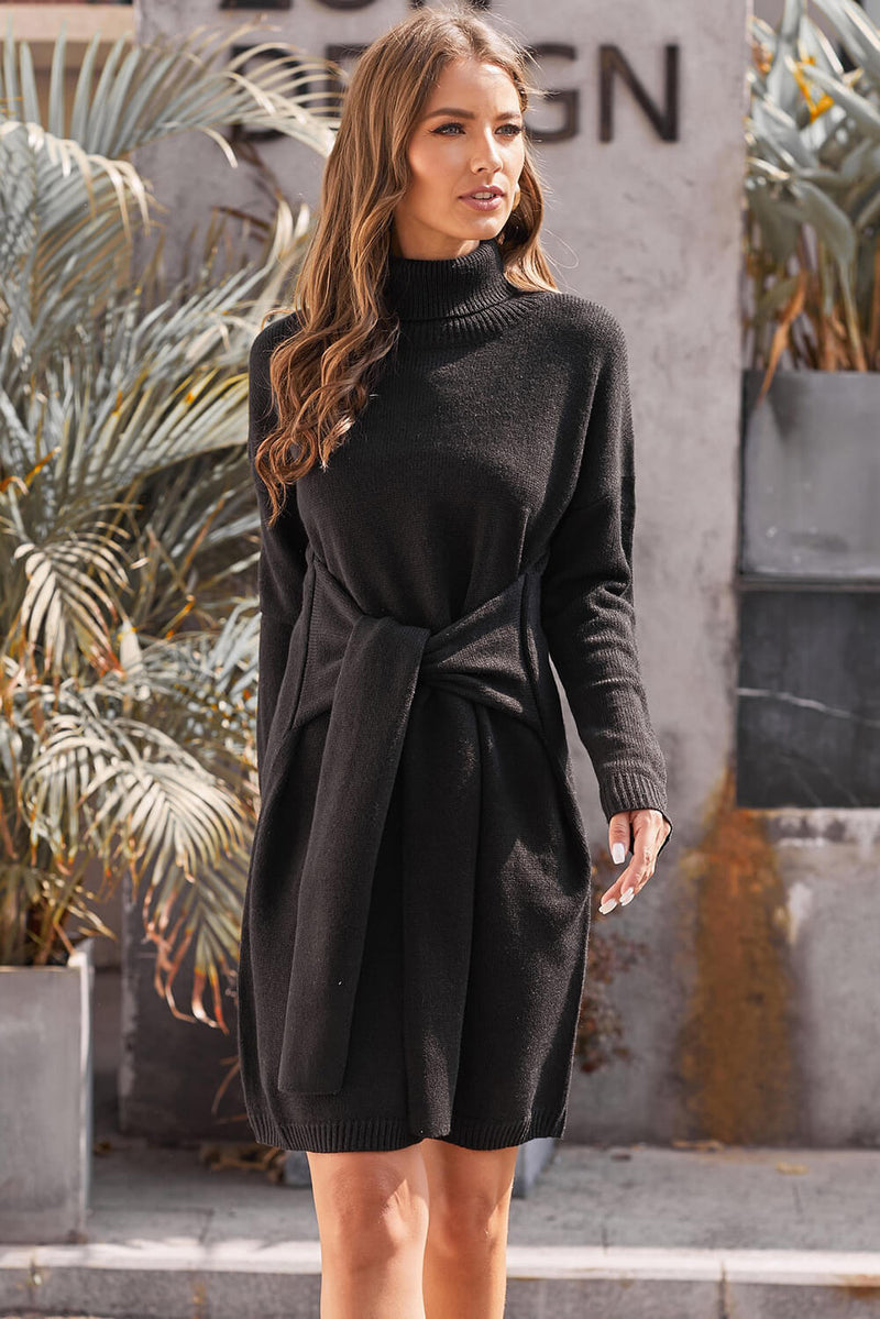 Black Long Sleeve Tie Waist Turtleneck Pullover Sweater Dress - GHA Discount