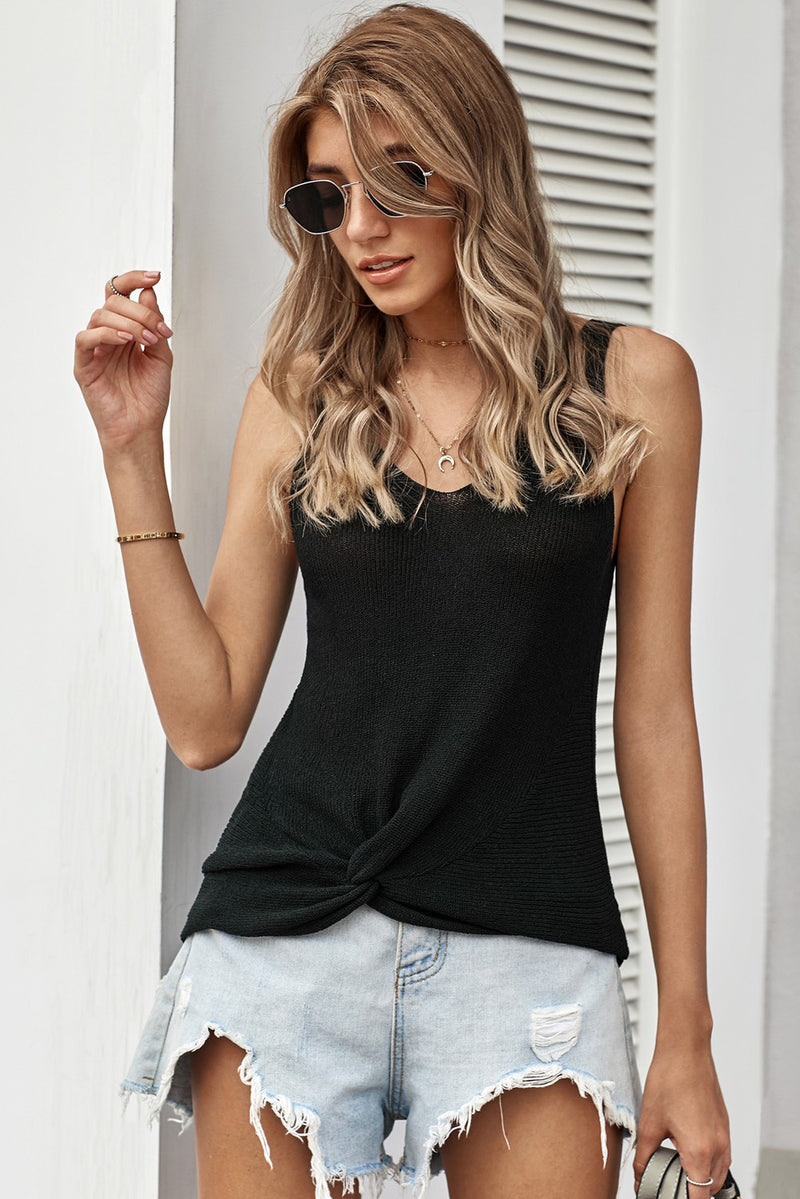 Black Sexy V Neck Twist Knit Vest - GHA Discount