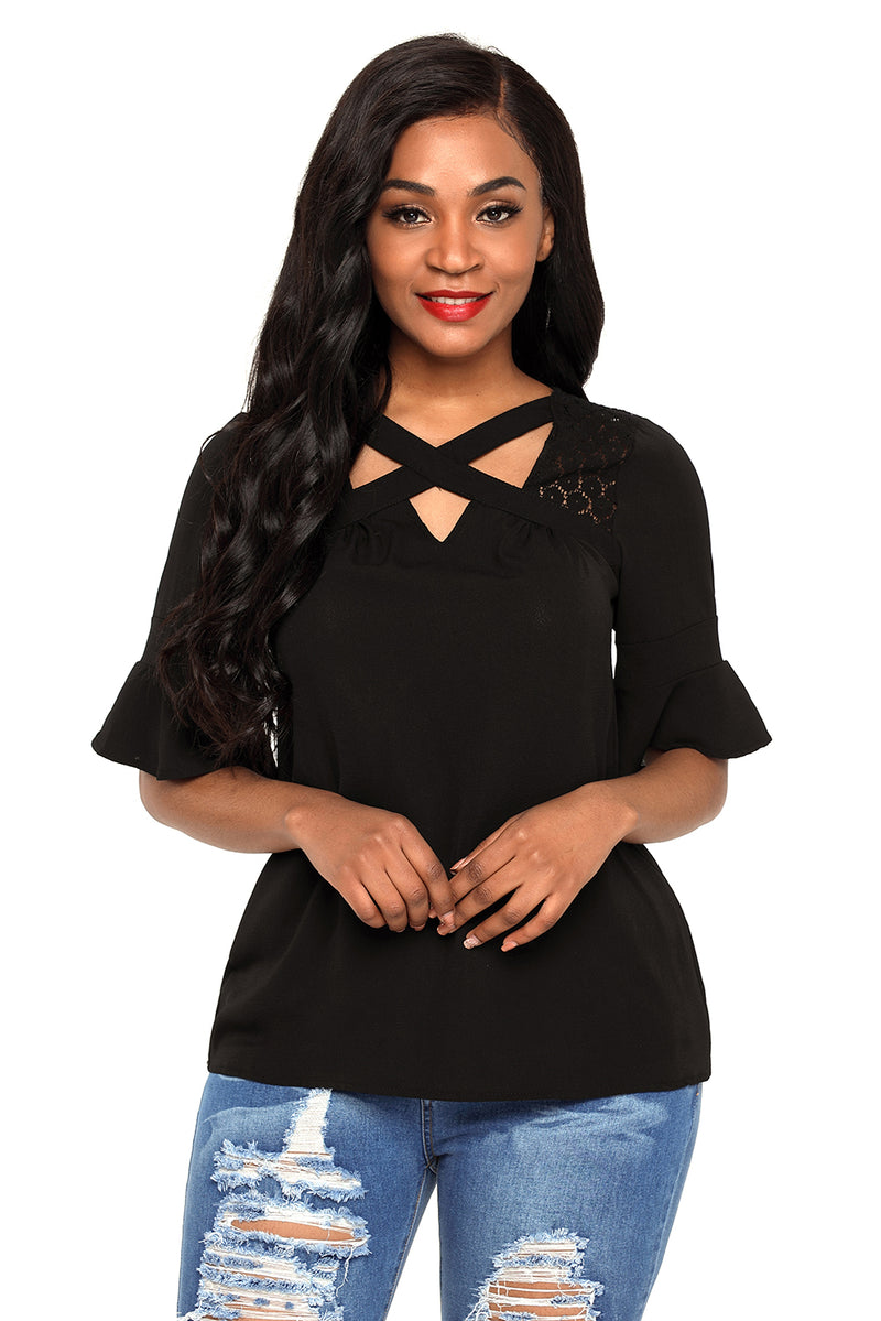 Lace Insert Bell Sleeve Top - GHA Discount