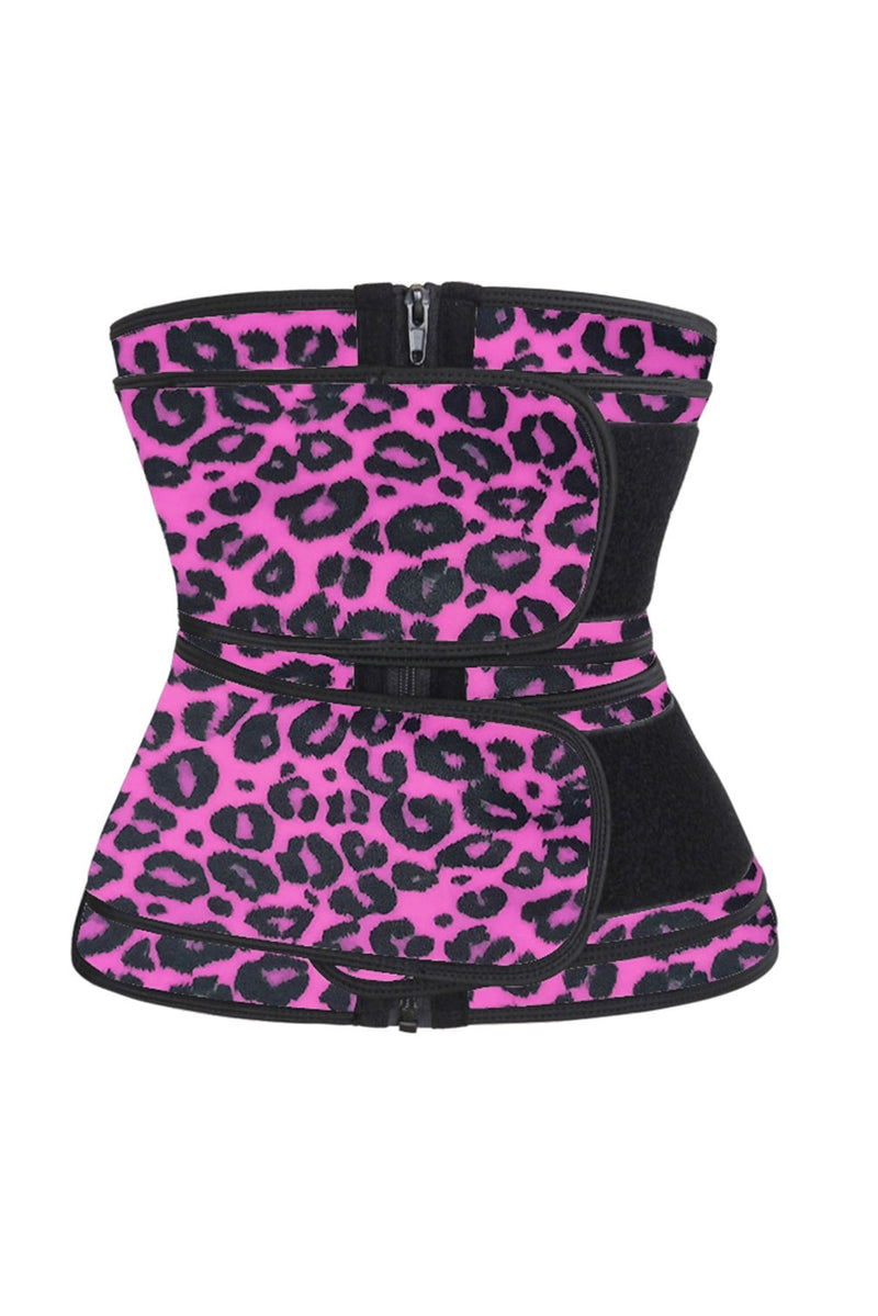 Rose Leopard Printing Compression Double Strap Latex Waist Trainer - GHA Discount