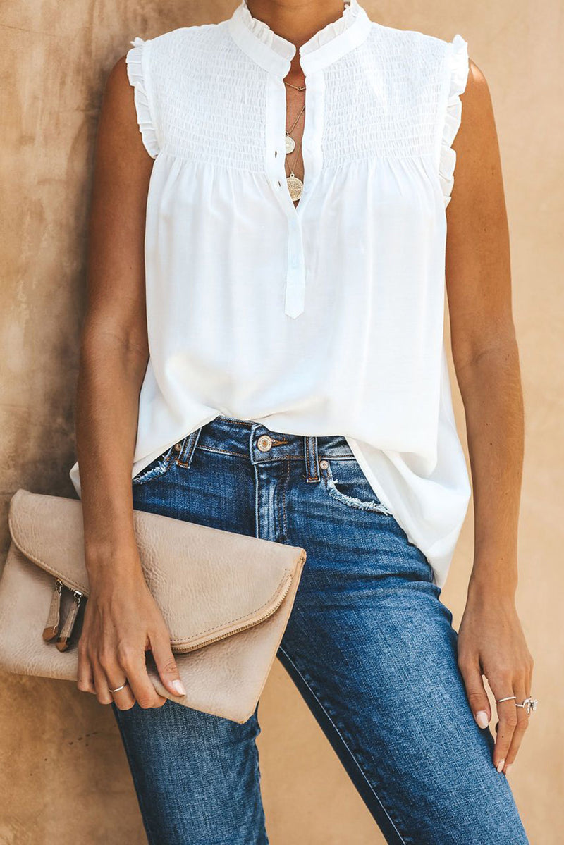 White Frilled Tank Top with Buttons - GHA Discount