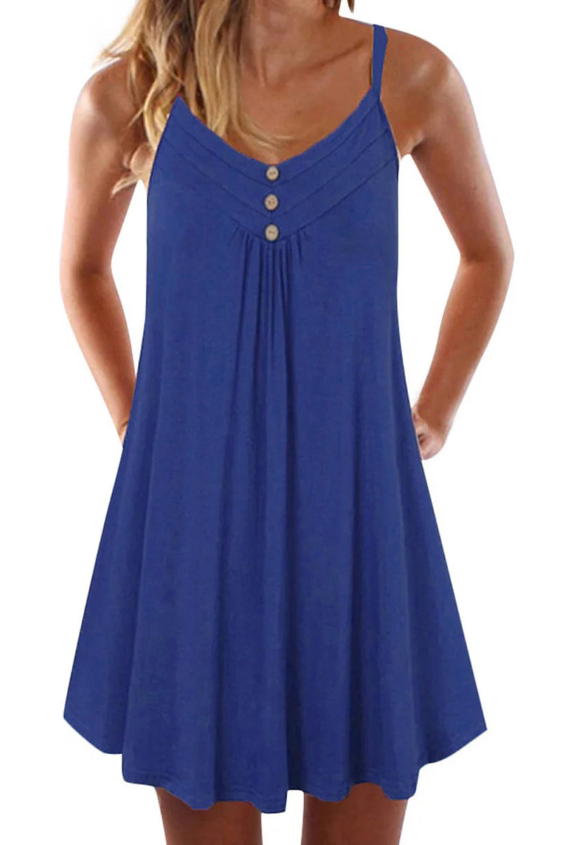 Blue Spaghetti Strap Buttoned Shift Dress - GHA Discount