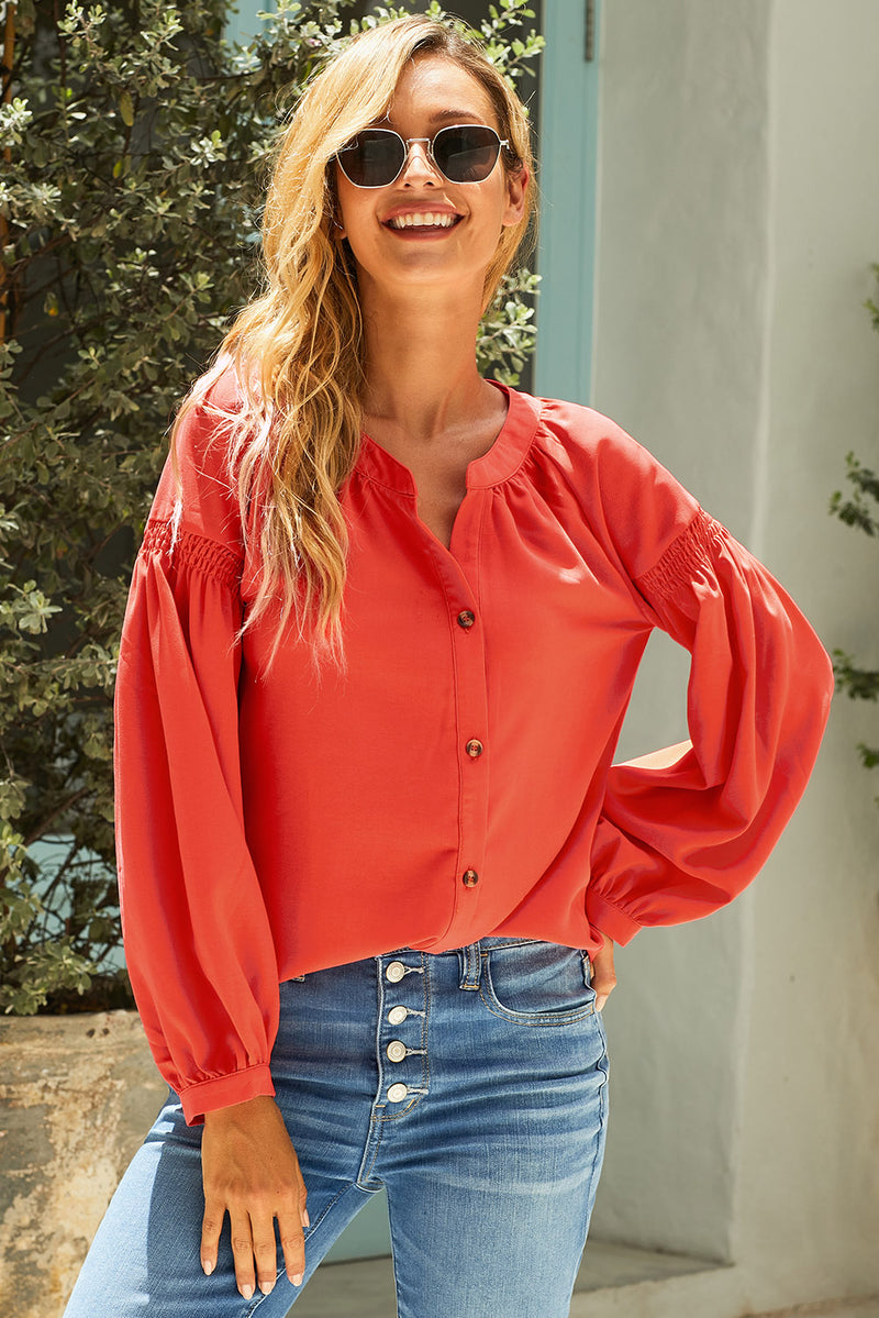 Orange Inspired Button Down Peasant Top - GHA Discount