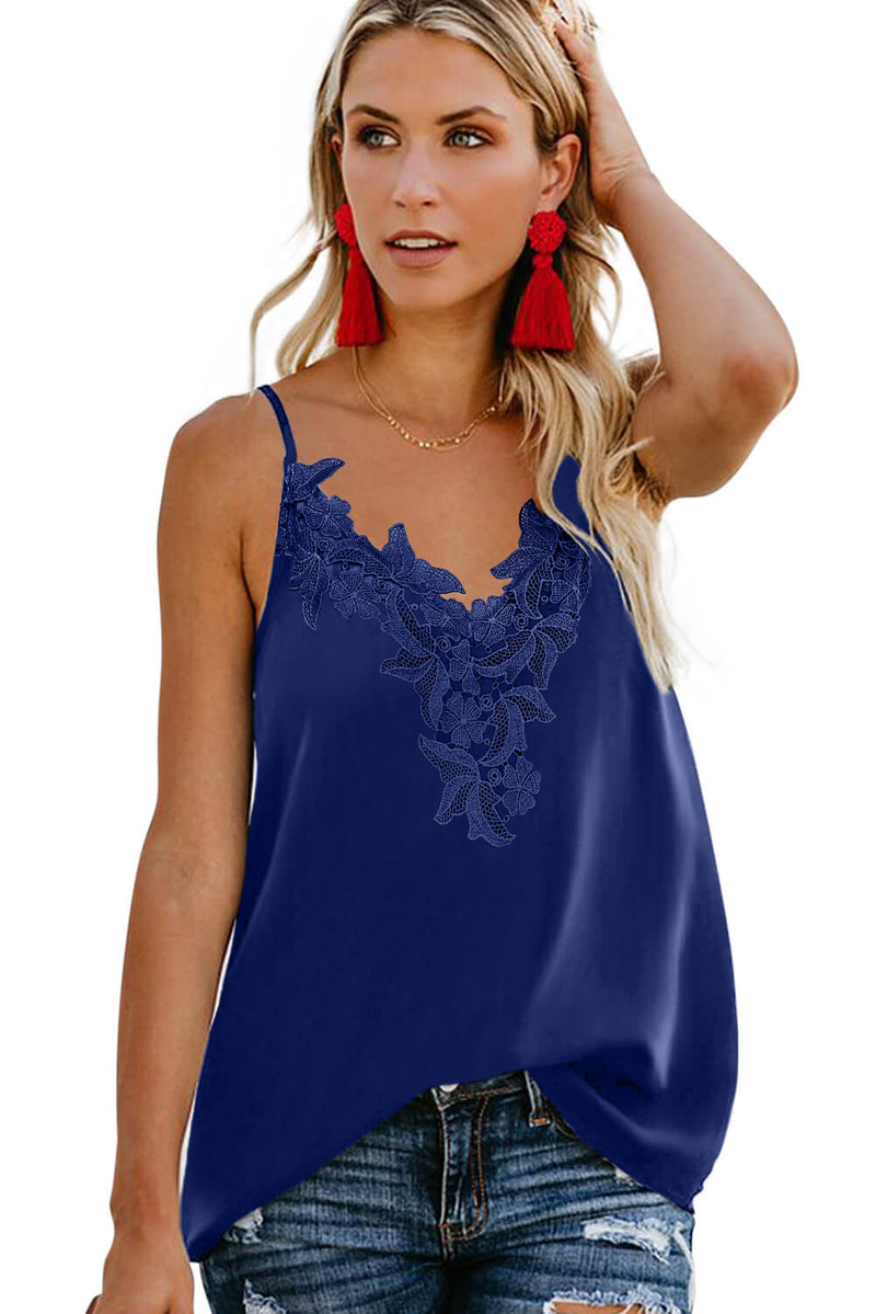 Blue Lace Cami Tank Top with Adjustable Spaghetti Straps - GHA Discount