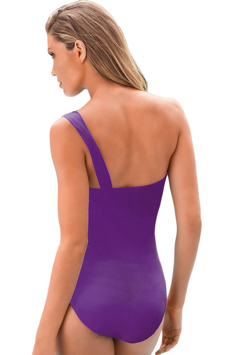 Purple Gradient Color One-shoulder Maillot