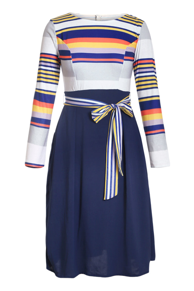 Navy Yellow Striped Poplin Sash Tie Midi Dress - GHA Discount