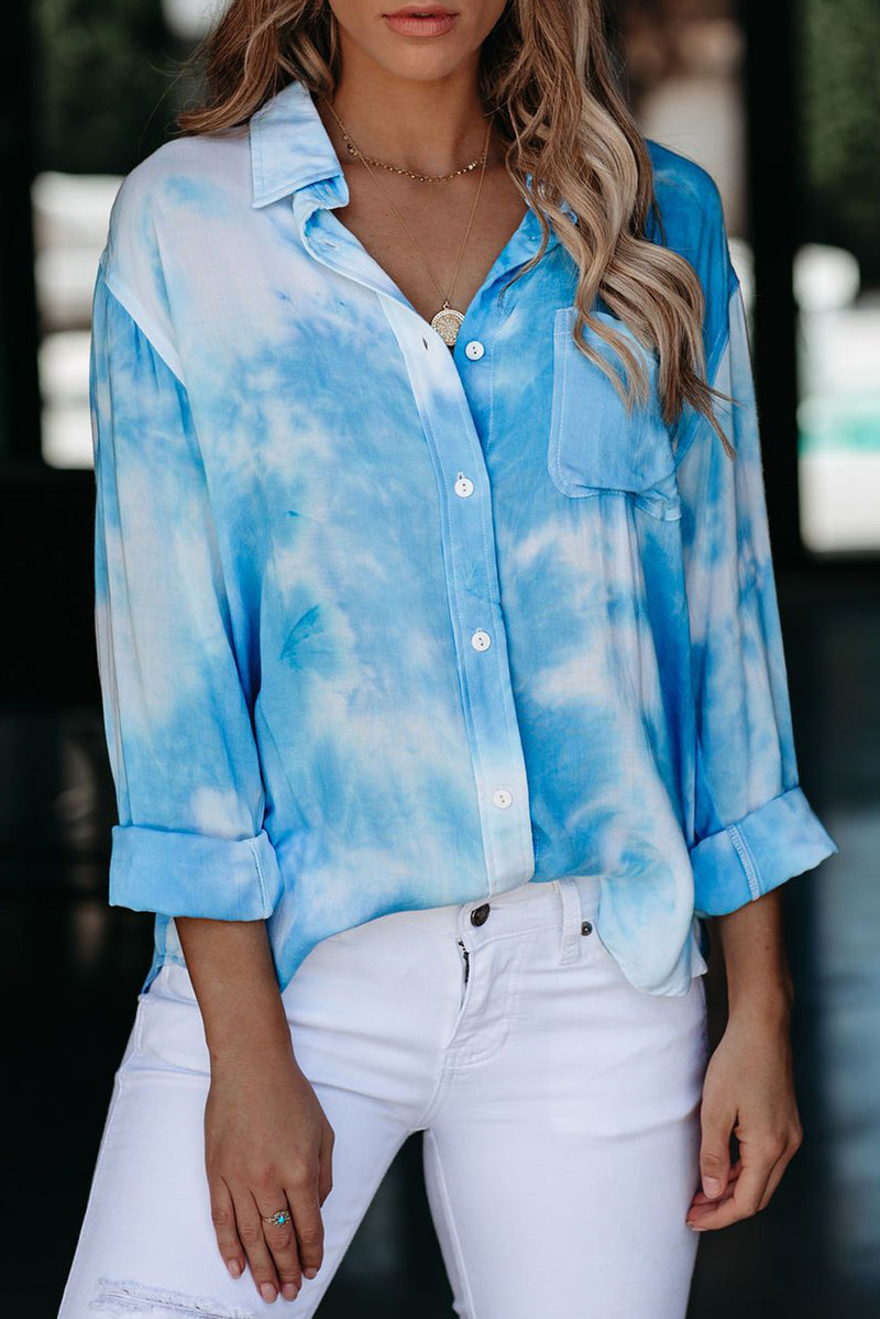Blue Whirlwind Tie Dye Button Shirt with Pocket - GHA Discount