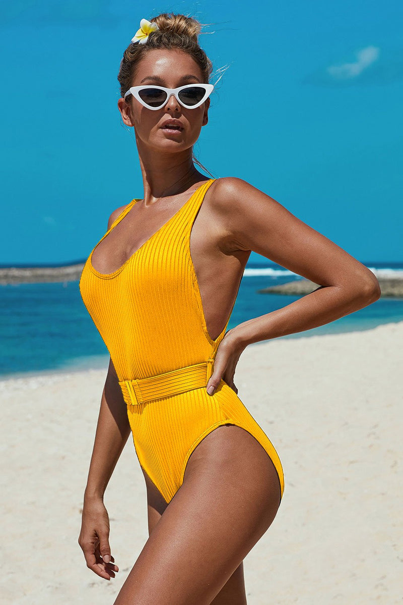 Yellow Ribbed One-piece Swimsuit with Belt - GHA Discount