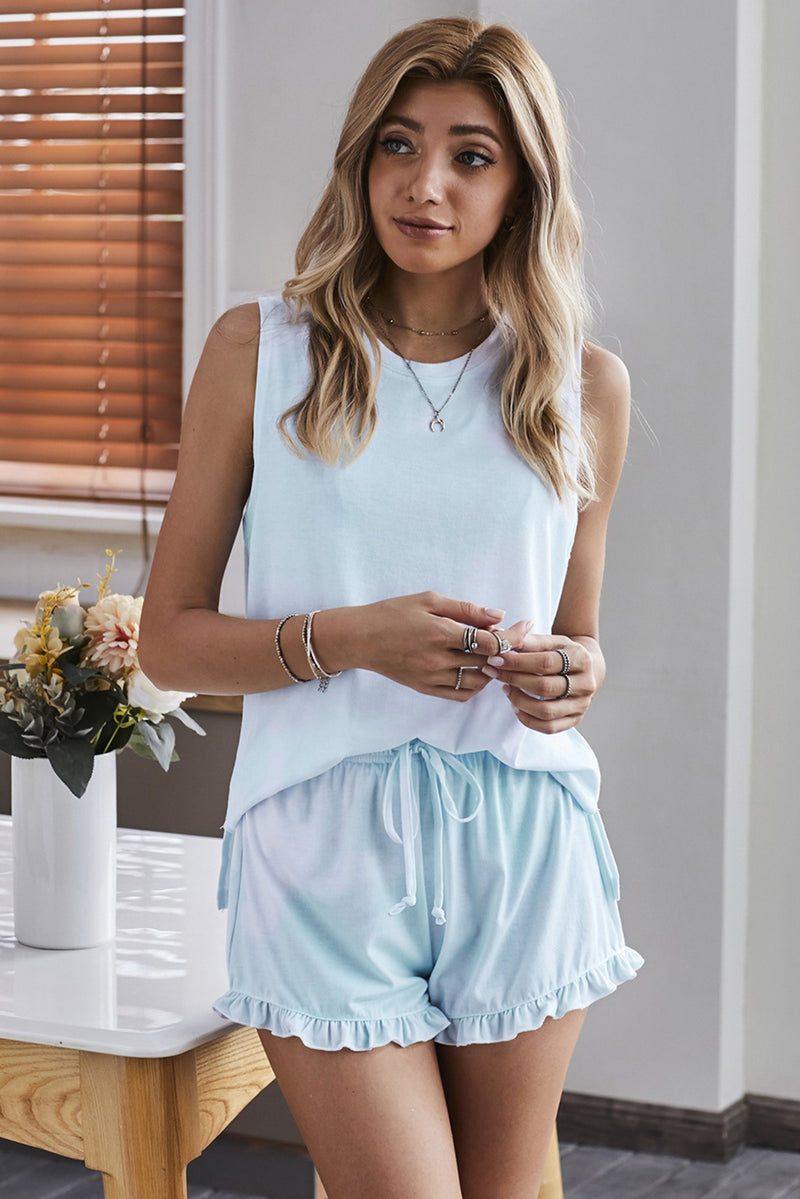 Light Blue Swingy Tank and Ruffled Shorts Loungewear - GHA Discount