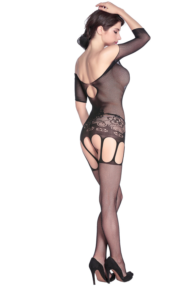 Bold Cutouts Crotchless Fishnet Bodystocking - GHA Discount