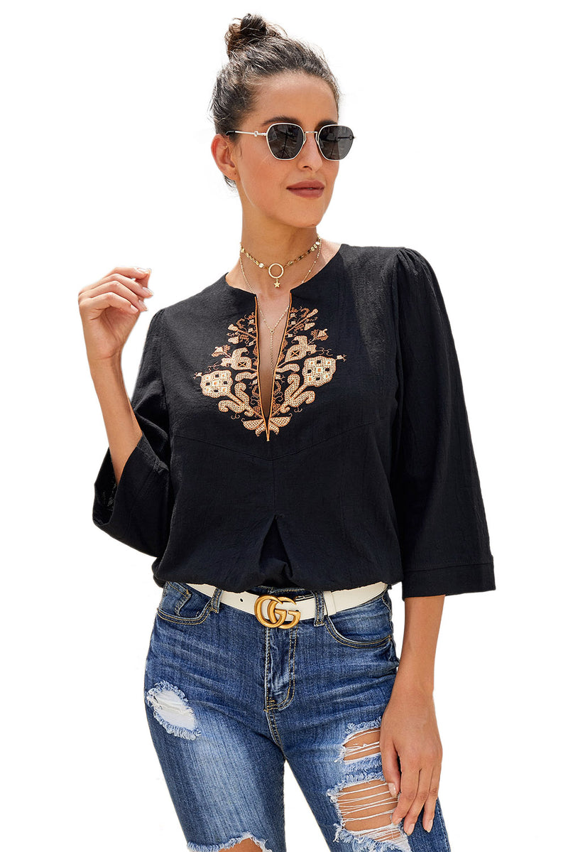 V Neck 3/4 Sleeve Casual Blouse - GHA Discount