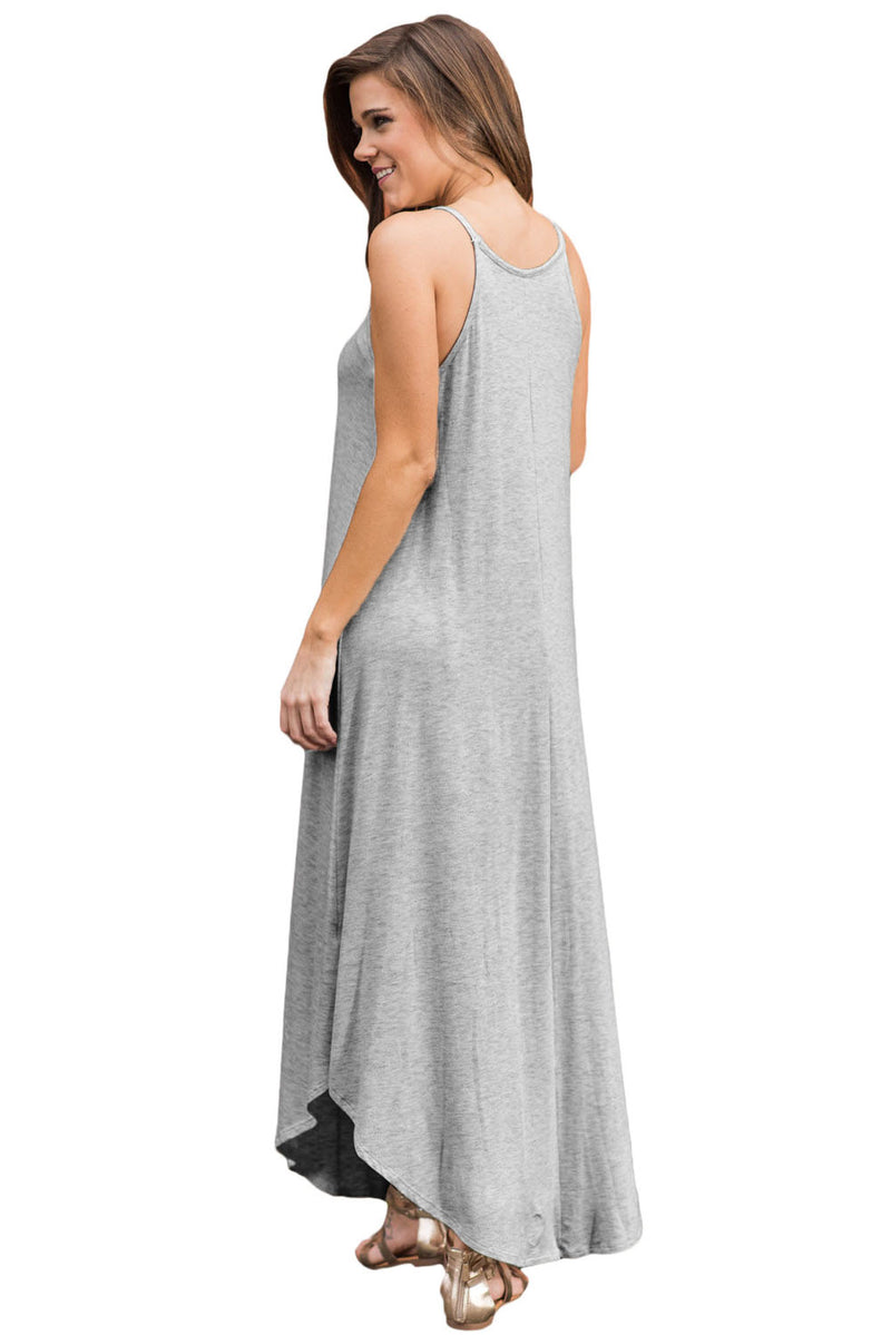 Light Gray Sexy Chic Sleeveless Asymmetric Trim Maxi Dress - GHA Discount