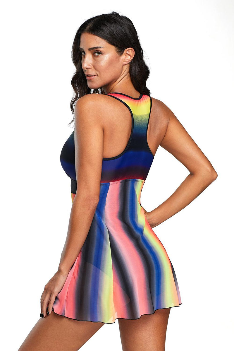 Multicolor Tie Dye Print Swimdress Swimsuit - GHA Discount