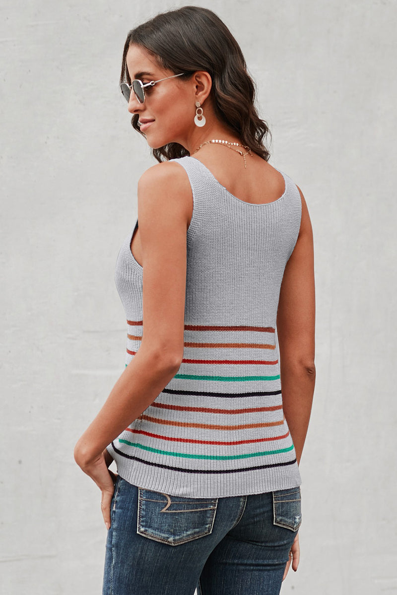 Multicolor Stripes Gray Knit Tank Top - GHA Discount
