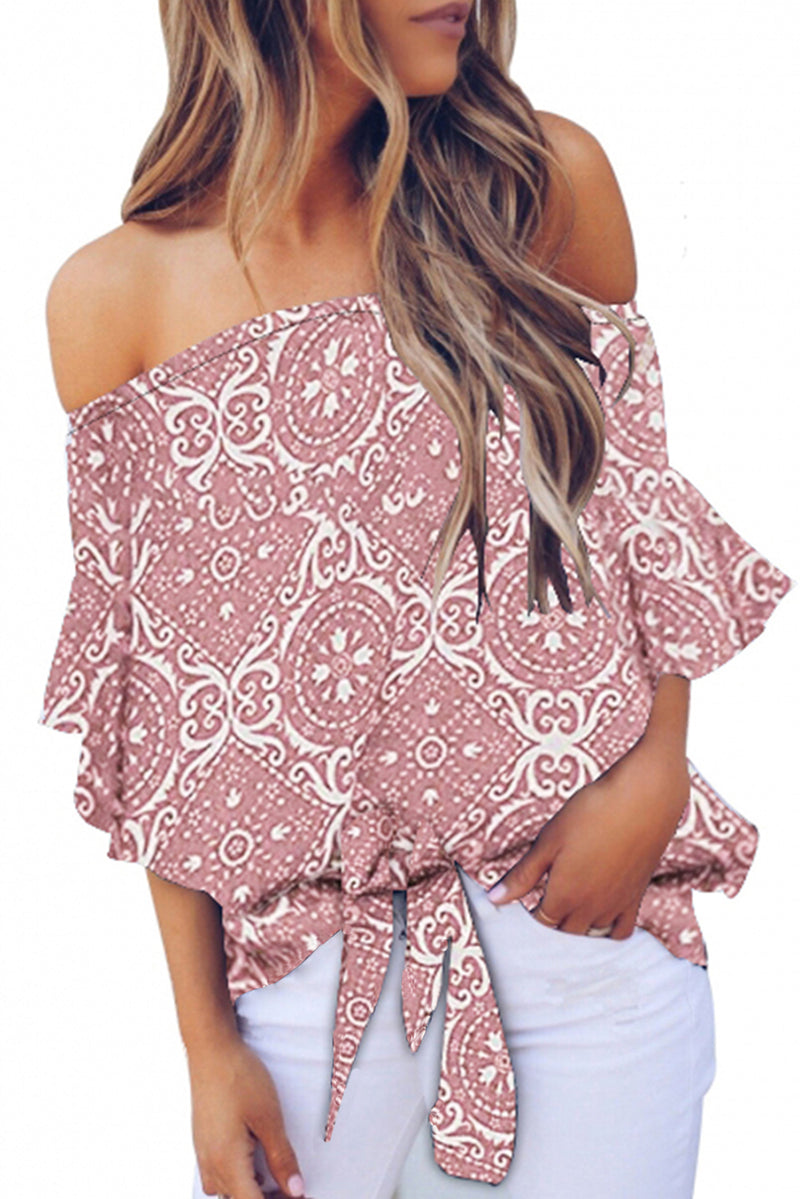 Floral Print Off The Shoulder Blouse - GHA Discount