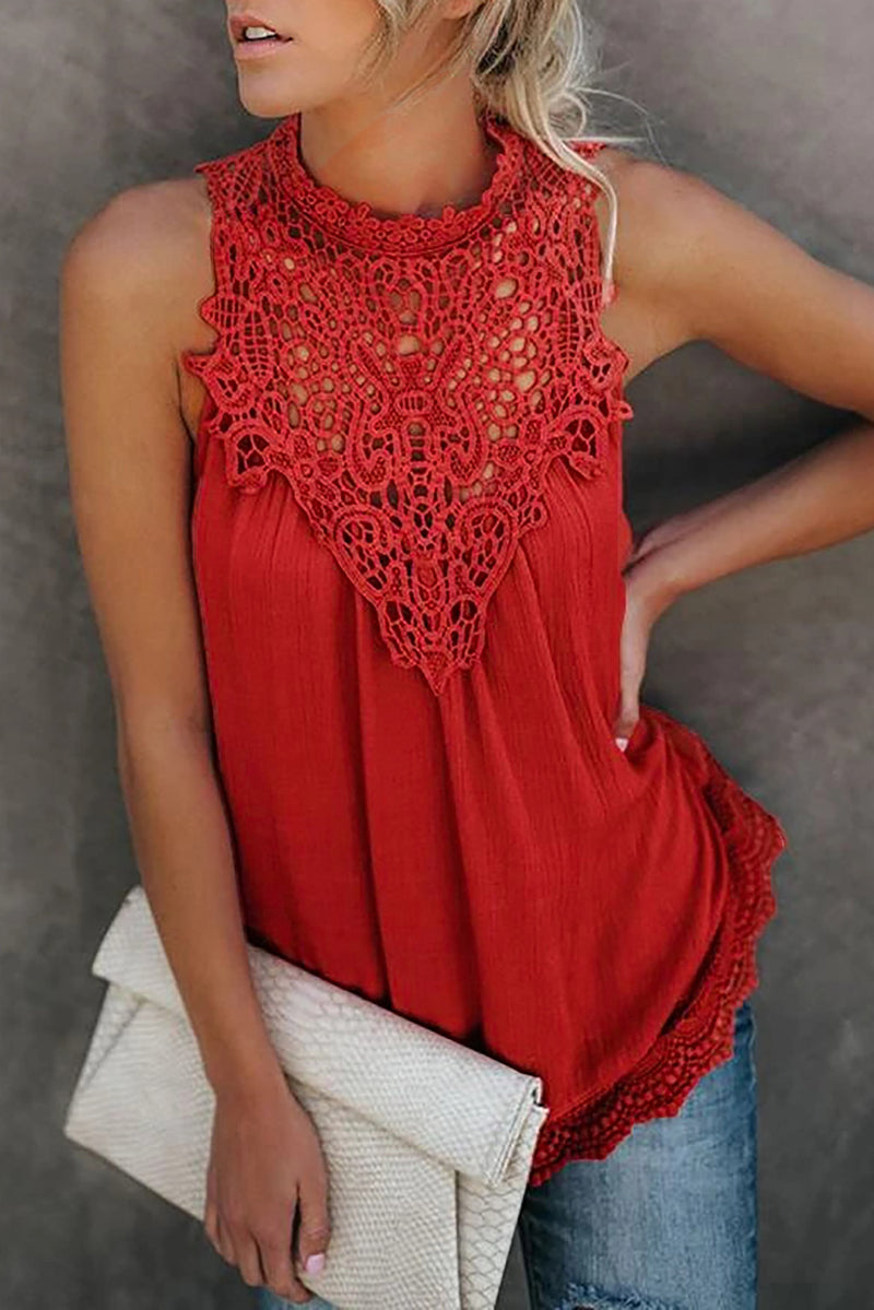 Red Crochet Lace Sleeveless Crew Neck Tank - GHA Discount