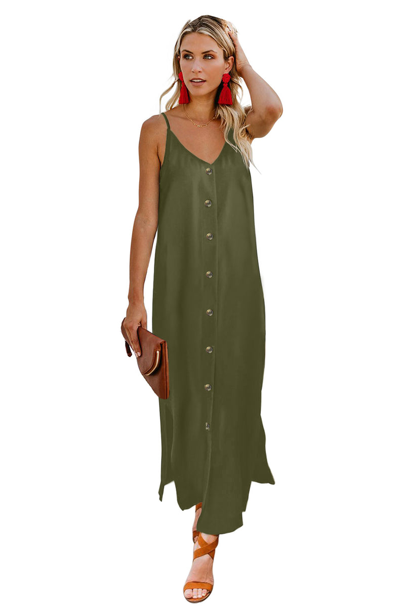 Green Button Slip Long Dress - GHA Discount