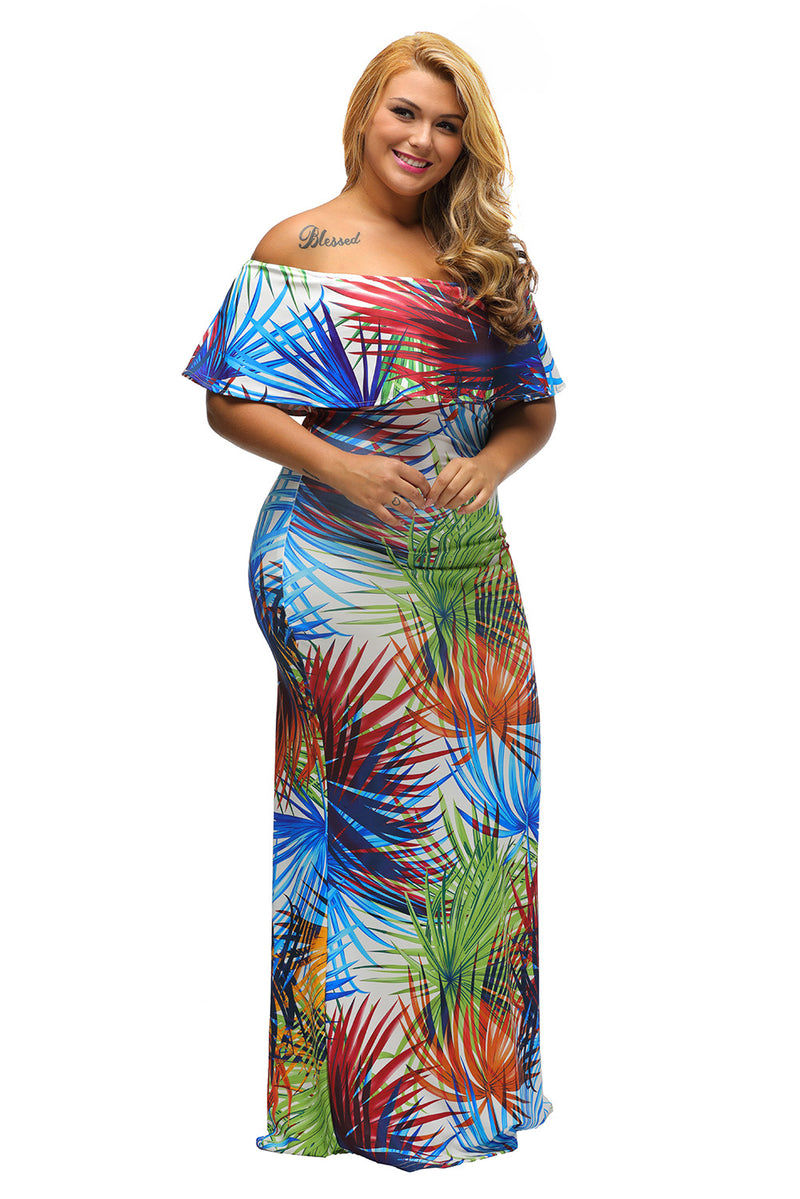 Tropical Print Off-the-shoulder Maxi Dress - GHA Discount
