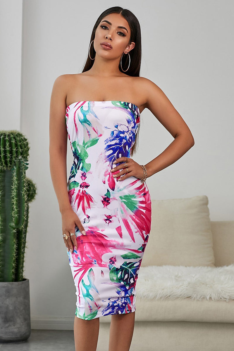 Tropical Print Tube Bodycon Dress - GHA Discount