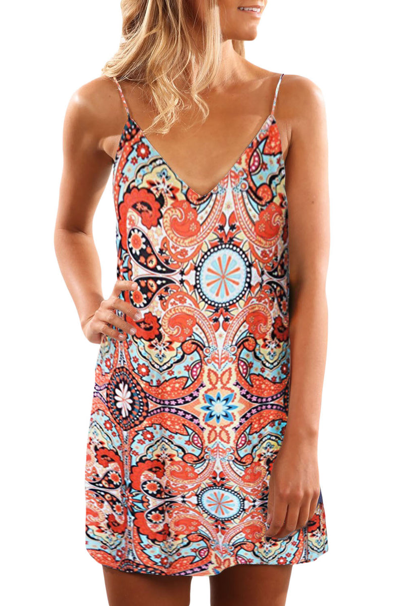 Orange Summer Casual Sleeveless Floral Printed Sundress - GHA Discount