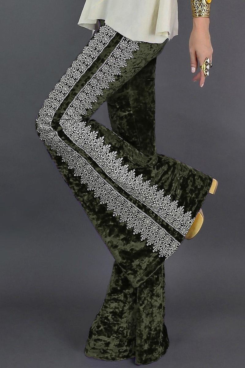 Green Crochet Lace Velvet Flare Pants - GHA Discount
