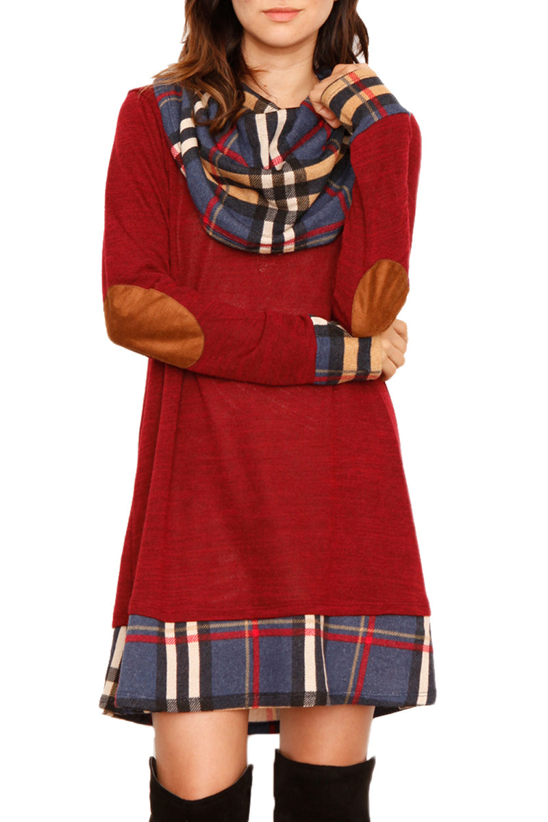 Red Plaid Elbow Patch Cowl Neck Dress - GHA Discount