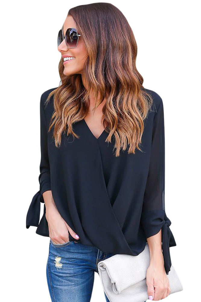 V Neck Ruched Tie Sleeve Top - GHA Discount